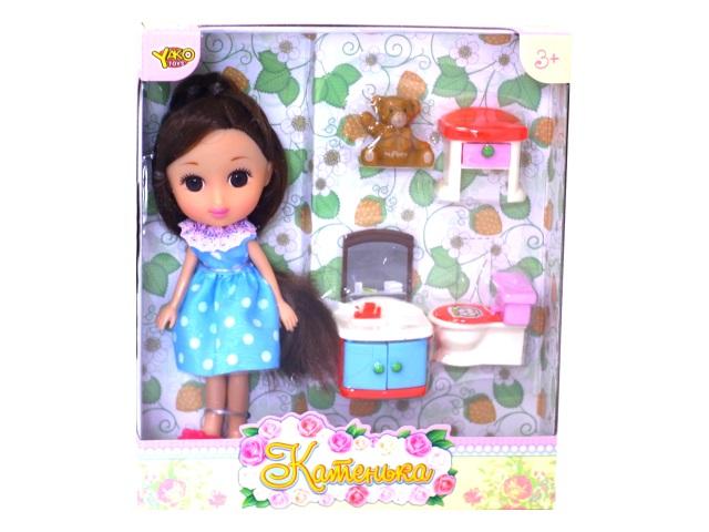 Кукла Катенька 16.5 см с ванной комнатой в коробке, Наша игрушка М6609
