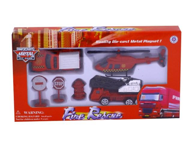 Машина набор  3шт мет Пожарная техника + аксесс Наша игрушка в кор 321F/1
