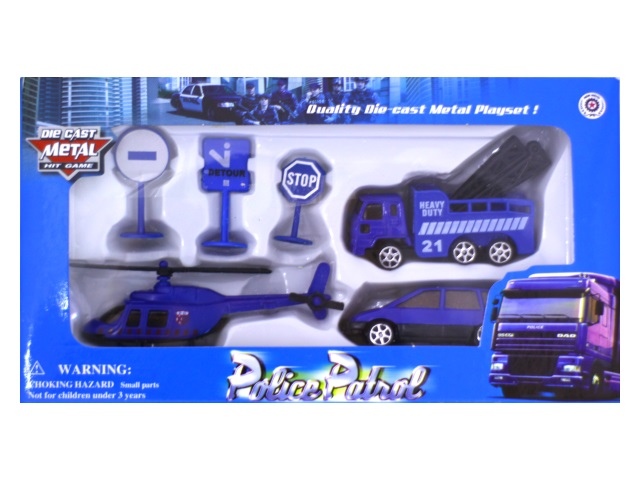 Машина набор  3шт мет Полицейская техника + аксесс Die Cast Наша игрушка в кор 321Р/1