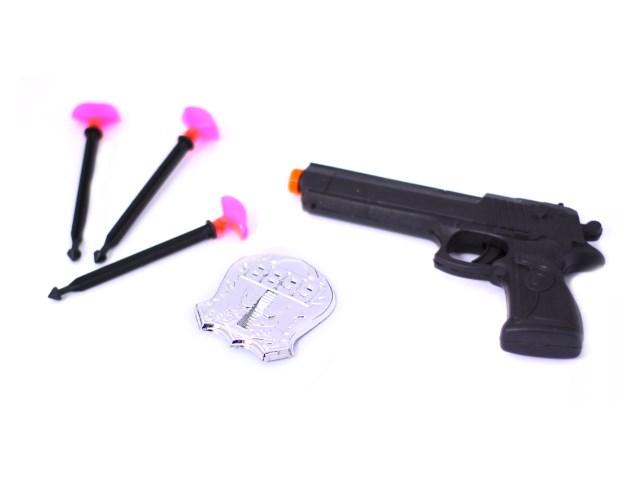 Пистолет 3 стрелы пласт + значок Шериф 15см Наша игрушка в пак 110-2/1