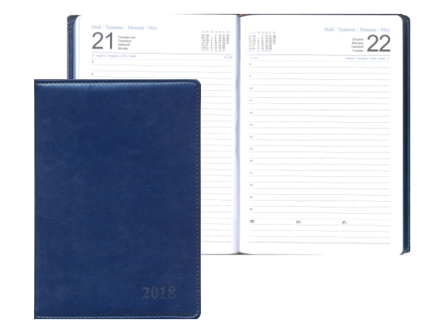 Ежедневник датированный 2018 г. А5 164 листа кожзам синий, Josef Otten 88025-2018-02
