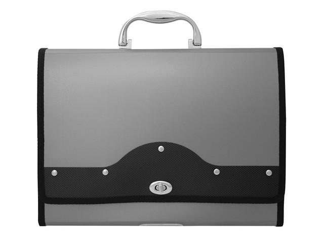 Портфель А4 13 отделений пластиковый на замке серебряный Metallic, Workmate 060000107