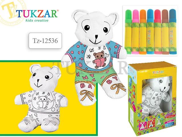 Набор для творчества, Игрушка для раскрашивания, Медвежонок, фломастеры 7 цветов, Tukzar