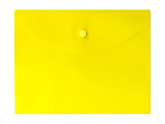 Папка конверт на кнопке В5 прозрачная желтая, Kanzfile В-5А