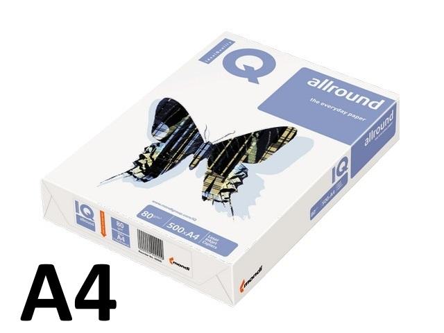 Бумага А4, 80 г/м, 500 листов, класс В, Allround, IQ