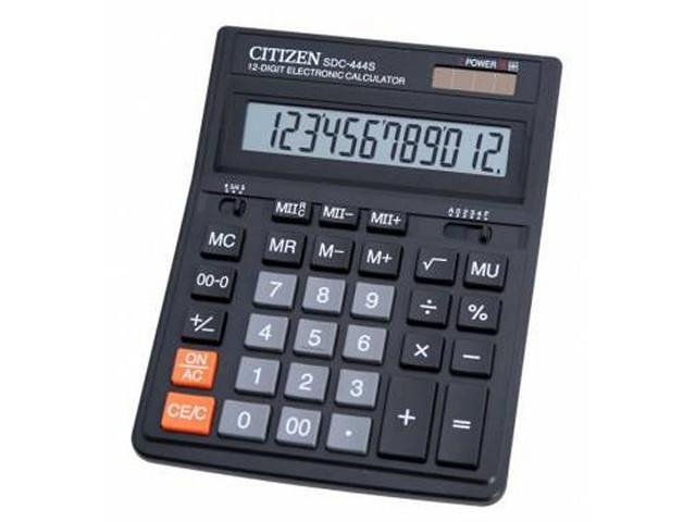 Калькулятор, 12-разрядный, черный, 16*20 см, СITIZEN