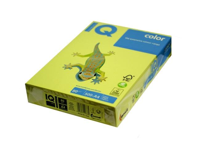 Бумага А4, 80 г/м., 500л., лимонно-желтая, IQ