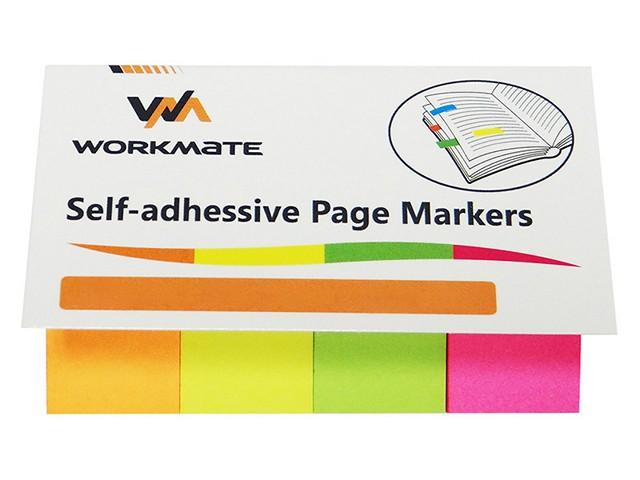 Стикер-закладка 50*20 мм 4 цвета по 50 листов бумажный, Workmate 003001500