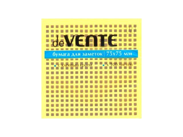 Стикер, 75*75 мм, 100 листов, желтый, DeVente