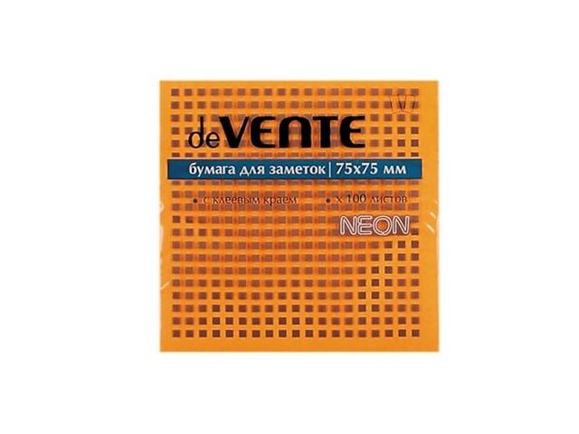 Стикер, 75*75 мм, 100 листов, неоновый оранжевый, DeVente